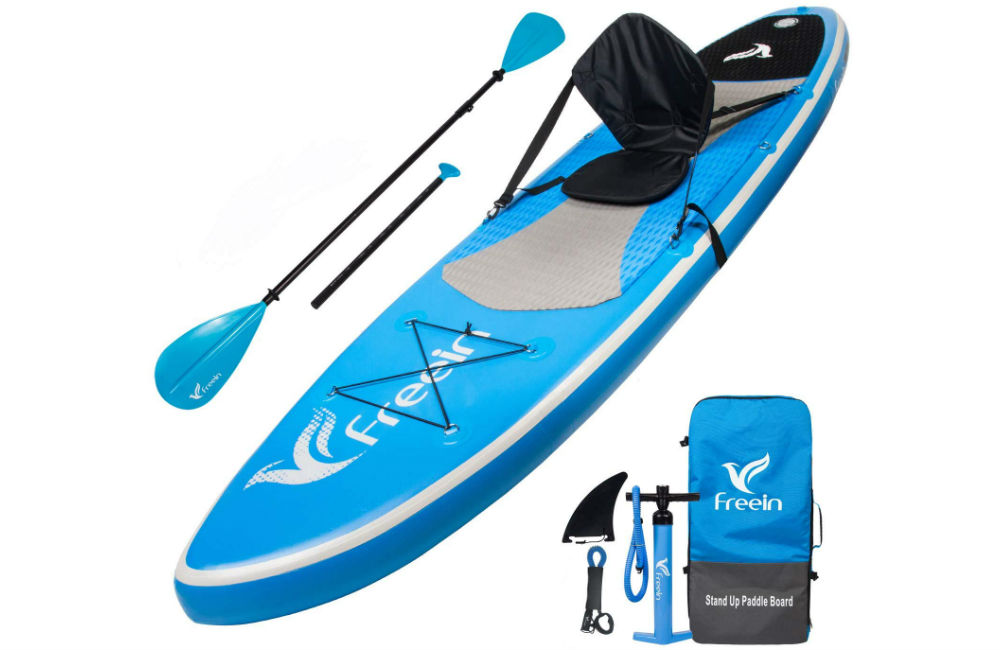 Freein Stand Up Paddle Board Inflatable SUP 10'/10'6 Long with Kayak Conversion Kit,Package∣Kayak seat,Adj 2 in 1 Paddle,Backpack,Leash,Pump